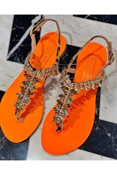 Rio Turuncu Kristal Cam Taş Detaylı Kadın Sandalet