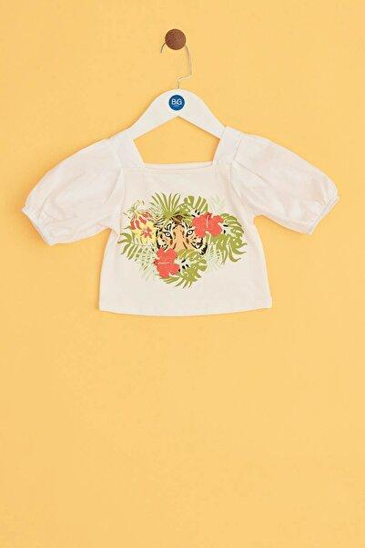 BG Baby Kız Bebek Ekru Renkli Çiçek Baskılı Bluz