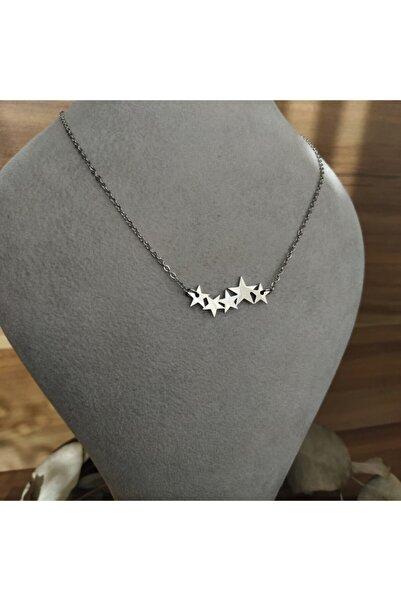 Mammamia Silver Kayan Yıldızlar Çelik Kolye