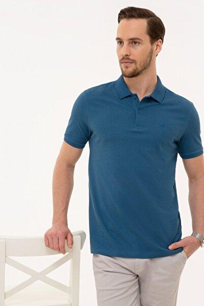 Pierre Cardin Erkek Mavi Slim Fit Polo Yaka T-Shirt