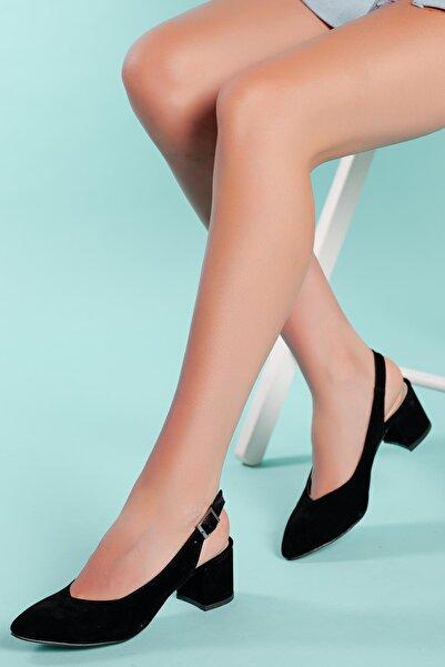 MUGGO Kadın Siyah Süet Topuklu Ayakkabı