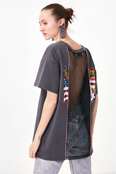 Kadın Gri File Kumaş Mixli Tshirt TS1200070169036