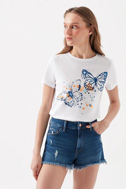 Kadın Kelebek Baskılı Beyaz T-shirt 168726-620