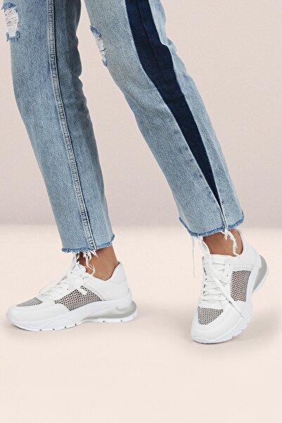 Gökhan Talay File Detaylı Beyaz Kadın Sneaker