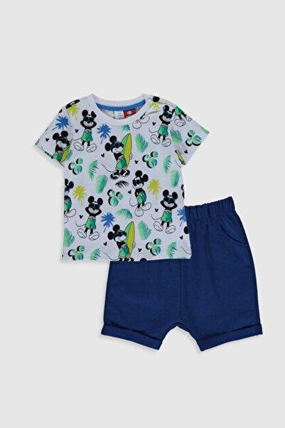 LC Waikiki Mickey Mouse Erkek Bebek Yeşil Baskılı Lrr Bebek Takımları