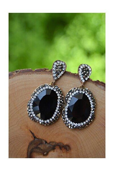 Stoneage El Yapımı Bayan Siyah Kristal Küpe