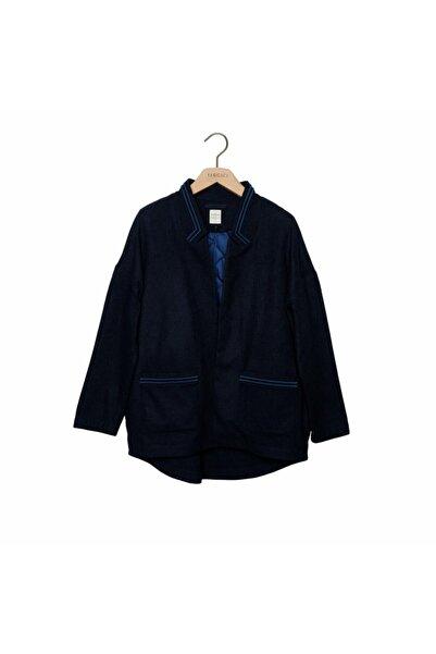 Kadın Lacivert Melanj Nakış Detaylı Palto 7KKPL5171X