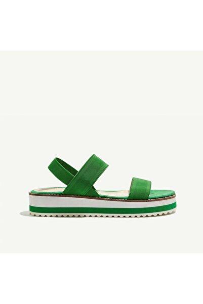 Yargıcı Kadın Yeşil Lastik Bantlı Sandalet 8YKAY4043X