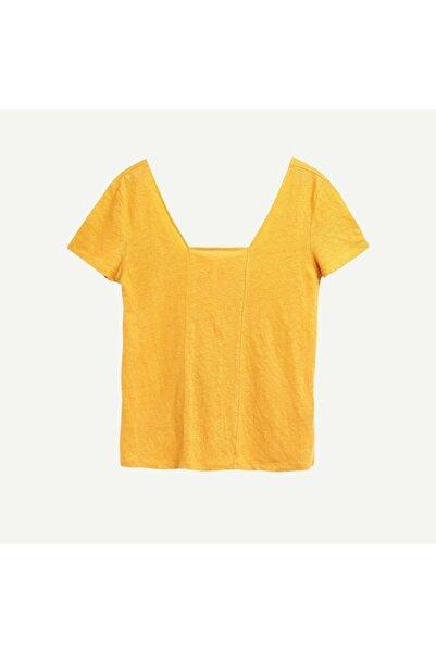 Yargıcı Kadın Safran Kare Yaka Panelli T-Shirt 9YKTS9021X