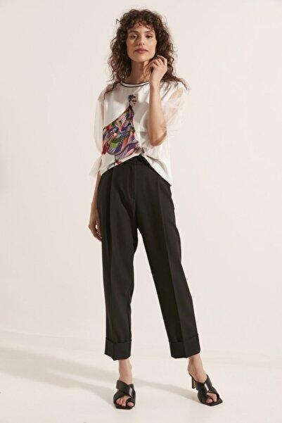 Say Kadın Siyah Geniş Double Paça Pileli Pantolon