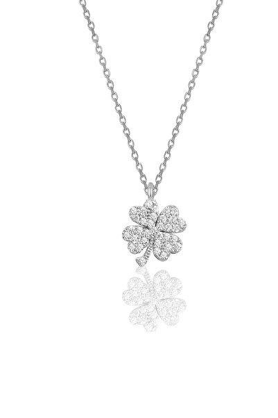 Söğütlü Silver Gümüş Rodyumlu Zirkon Taşlı Yonca Modeli Kolye