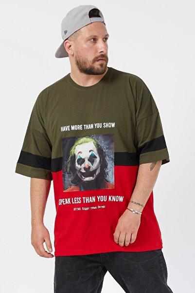 Erkek Haki Oval Yaka Tişört