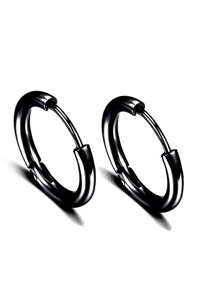 Kravatkolik Siyah Renk Çember Unisex Çelik Küpe Ear07