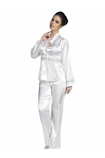 Mite Love Beyaz Saten Gecelik Pijamalı Takım