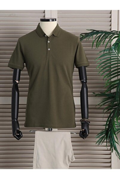 Kip Erkek Haki Yakalı Düz Örme T - Shirt
