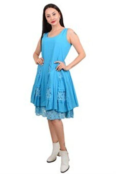 Kadın Mavi Otantik Pamuk Elbise