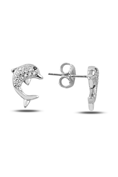 Silverella Gümüş 925 Ayar Zirkon Taşlı Yunus Balığı Küpe