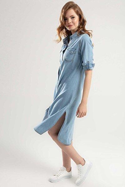 Y-London Kadın Açık Mavi Çıtçıtlı Katlanabilir Kol Uzun Elbise Y20S110-5603