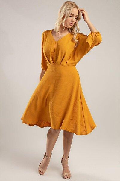 Y-London Kadın Hardal Bol Kesin V Yaka 3/4 Kol Krinkıl Elbise Y20S126-10590