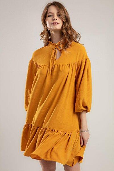 Y-London Kadın Hardal Boynu Bağlamalı Balon Kol Krinkıl Elbise Y20S126-10566