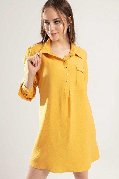 Y-London Kadın Hardal Çıtçıt Düğmeli Cepli Elbise Y20S110-5699