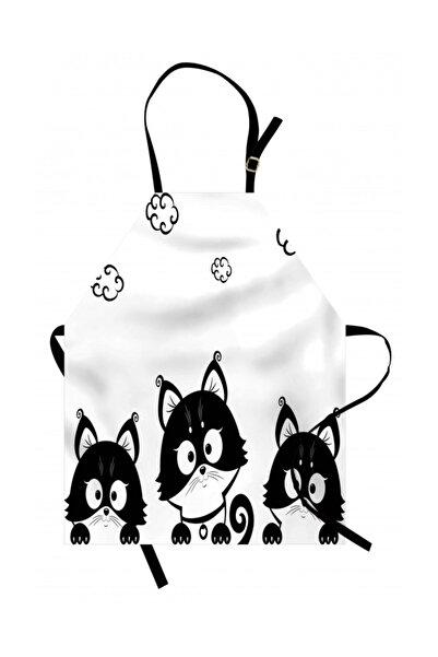 Orange Venue Siyah Beyaz Mutfak Önlüğü Sevimli Kedi Yavruları