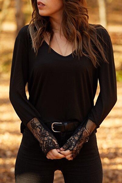 Kadın Siyah Kolu Dantel Detaylı Bluz  9kxk2-41666-02
