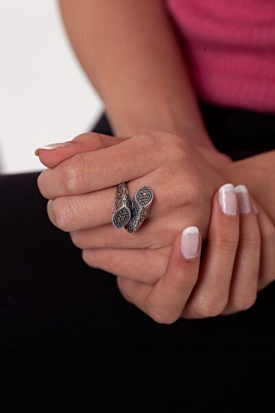 Ninova Silver Kadın Sarmaşık Model Markazit Taşlı Gümüş Yüzük NNVSLVR03317