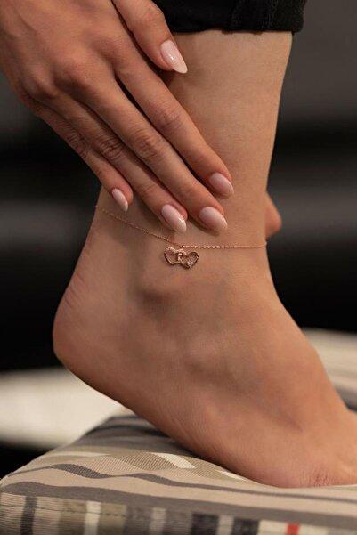 İzla Design İkili Kalp Model Rose Kaplama Gümüş İtalyan Halhal
