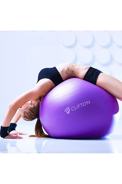 Clifton 65 cm Fitilli Pilates Topu Mor + Pompa