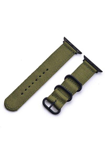 Techmaster Apple Watch 1 2 3 4 5 Seri 42mm 44mm Spor Kanvas Tme Kordon Haki