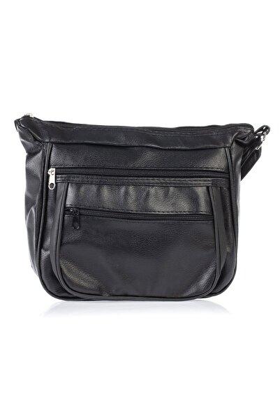 By Saygı Fermuarlı Askılı Deri Çanta Siyah