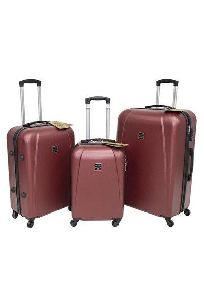 1223 Abs Sert Kabuk 3'lü Valiz Bavul Seti