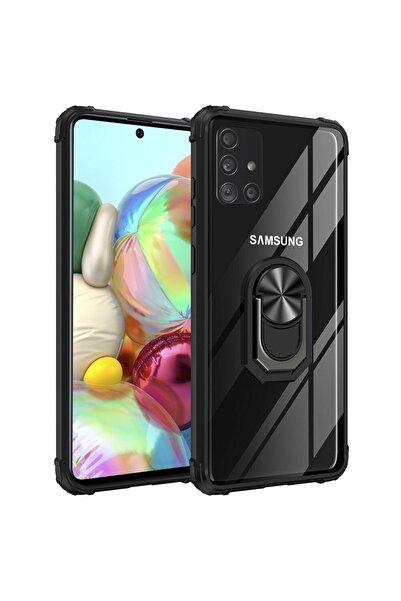 Mobilteam Samsung Galaxy A71 Kılıf Solidring Antişok Yüzüklü Şeffaf Kapak Siyah