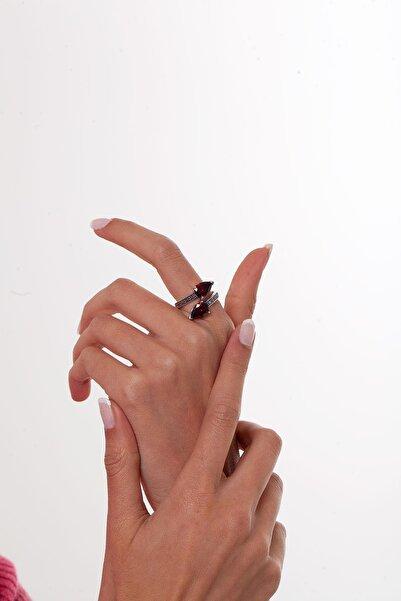 Ninova Silver Damla Model Yakut ve Markazit Taşlı Gümüş Yüzük
