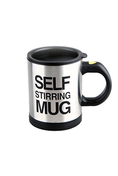 Patladı Gitti Kendi Kendini Karıştıran Mikser Kupa Termos Bardak; Self Stirring Mug - Siyah