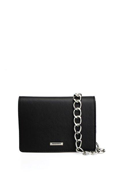 Housebags Kadın Zincirli Siyah Çapraz Çanta 169