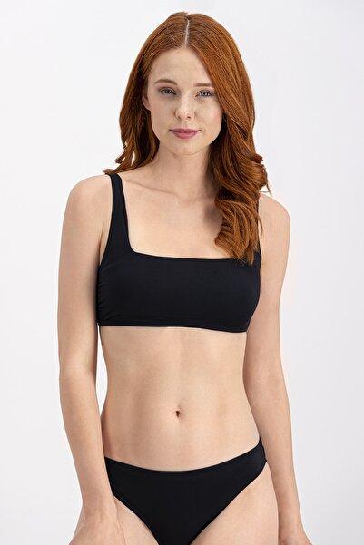 Siyah Kalın Askı Straplez Bikini Üstü