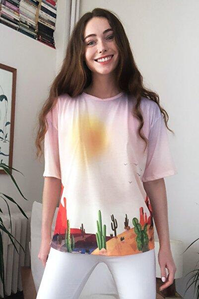 Çok Renkli Baskılı Loose Kalıp Örme T-Shirt TWOSS20TS1401