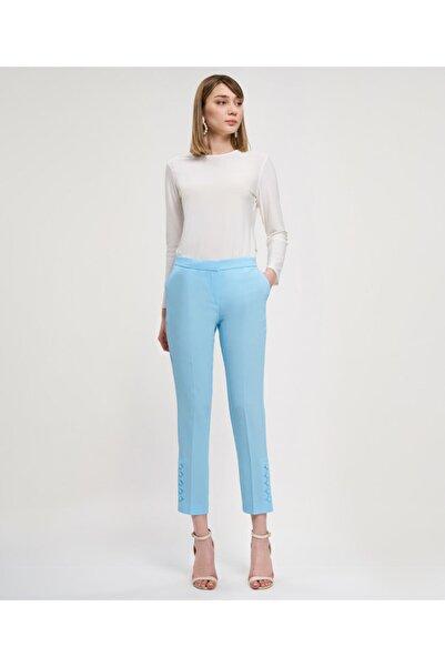 Aker Kadın Turkuaz Paçaları Düğmeli  Pantolon V35570117