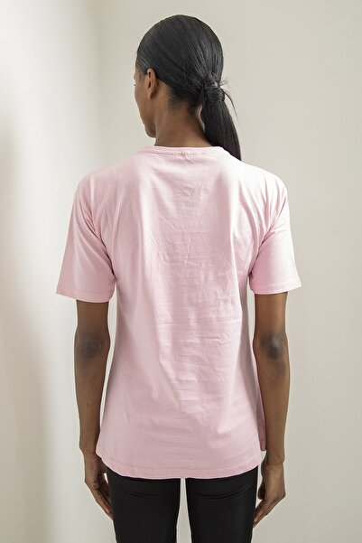 Kadın Pembe Baskılı Basic T-shirt