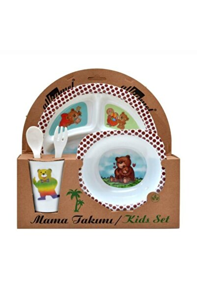 Bebek Mama Tabağı Ayıcıklı Formlu 5 Li Set Melamin Kare