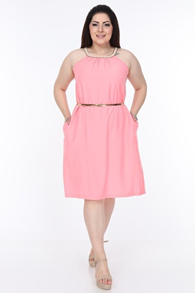 Moday Yaka Detaylı Pembe Elbise 6b-1109