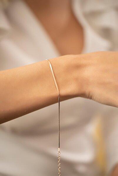 İzla Design Kadın İnce Yassı Model Rose Kaplama Gümüş İtalyan Bileklik PKT-TLYSLVR0349