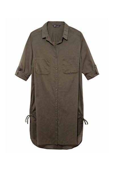 Marks & Spencer Kadın Yeşil Saf Pamuklu Gömlek Plaj Elbisesi T43003445X