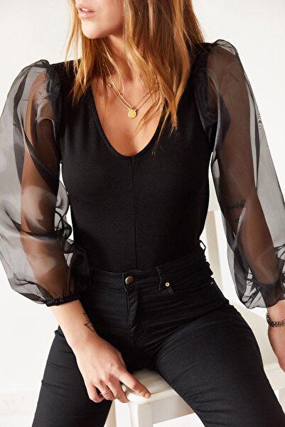 Kadın Siyah Organze Bluz 9kxk2-43216-02