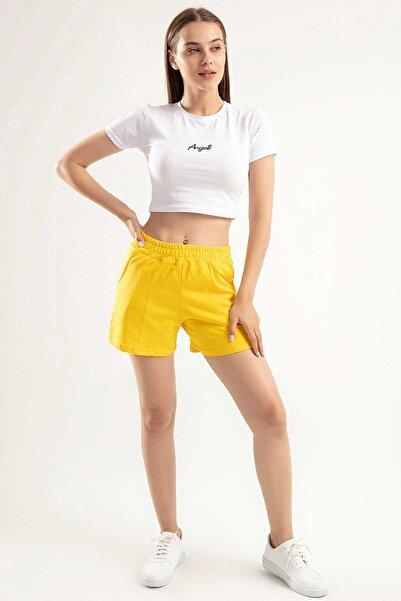 Y-London Kadın Sarı Angel Nakışlı Crop İkili Şortlu Takım Y20S151-1504