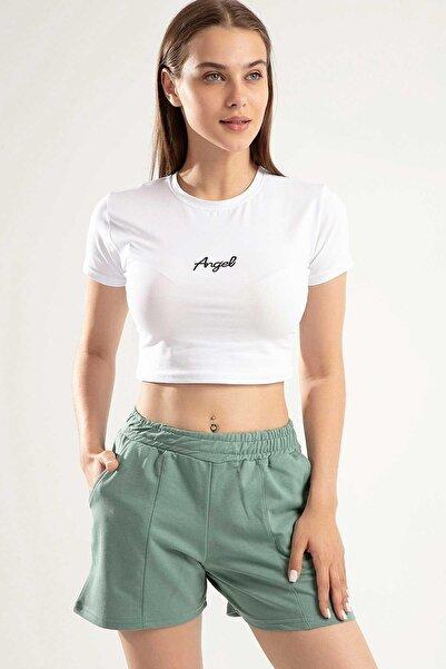 Y-London Kadın Mint Yeşili Angel Nakışlı Crop İkili Şortlu Takım Y20S151-1504