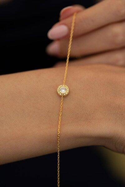 İzla Design Kadın Zirkon Taşlı Altın Kaplama Gümüş İtalyan Bileklik PKT-TLYSLVR0050