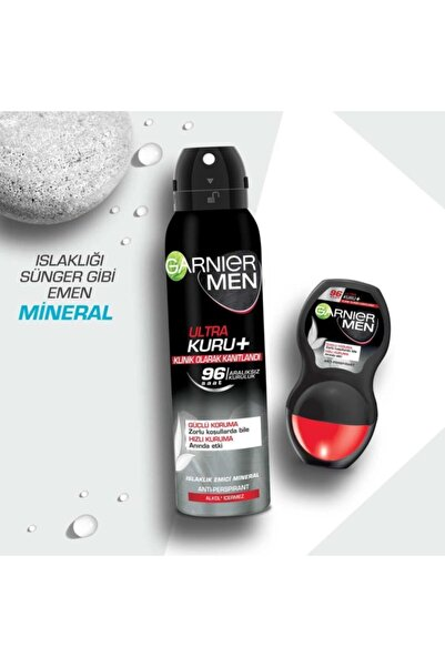 Garnier Men Erkek Deo Sprey Ultra Kuru Deodoran + Roll-on Seti